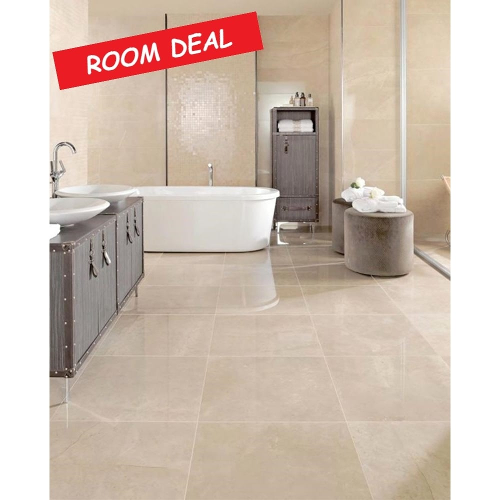 15m2 Super Polished Marfil 60cm x 60cm Wall & Floor Tile - Room Deal ...