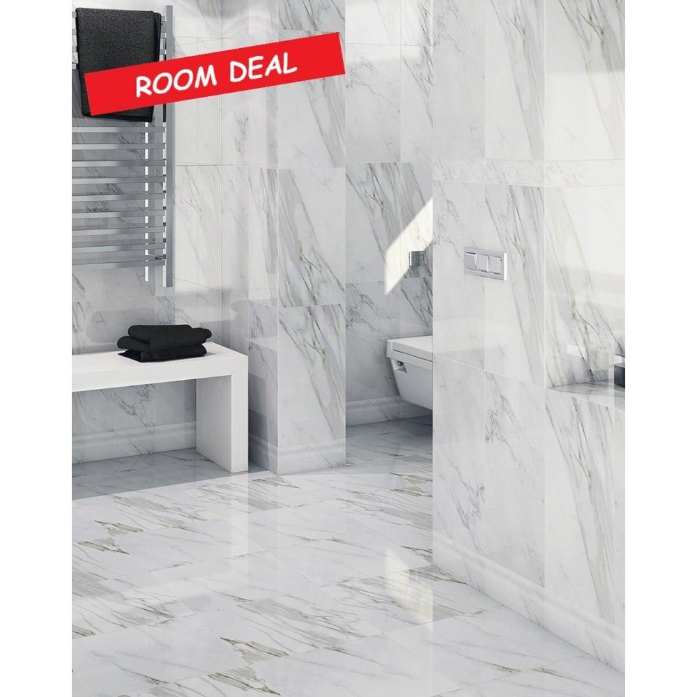25m2 Matt Carrara Marble Effect 30cm x 60cm Wall & Floor Tile - Room ...