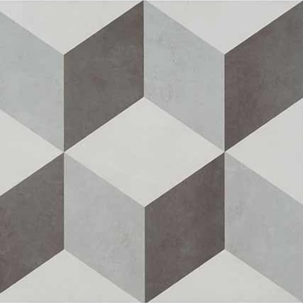 British Ceramic Tile Feature Illusion Grey 33.1cm x 33.1cm Floor ...