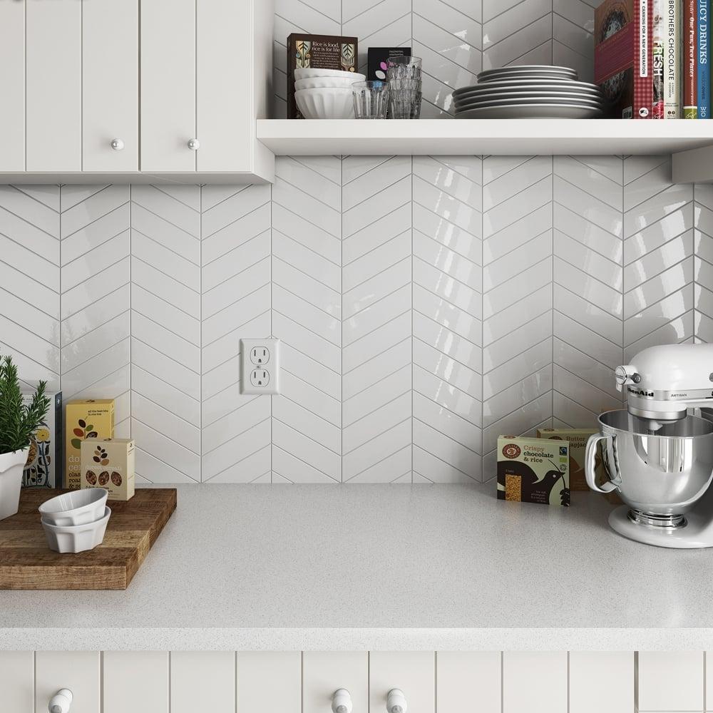 Chevron White Matt Left 18 6 X 5 2cm Wall Tile Per Box Wall Tiles From Dantotsu Ltd Uk