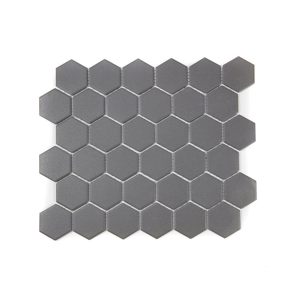 full body hexagon matt dark grey mosaic 32 5cm x 28 1cm wall floor