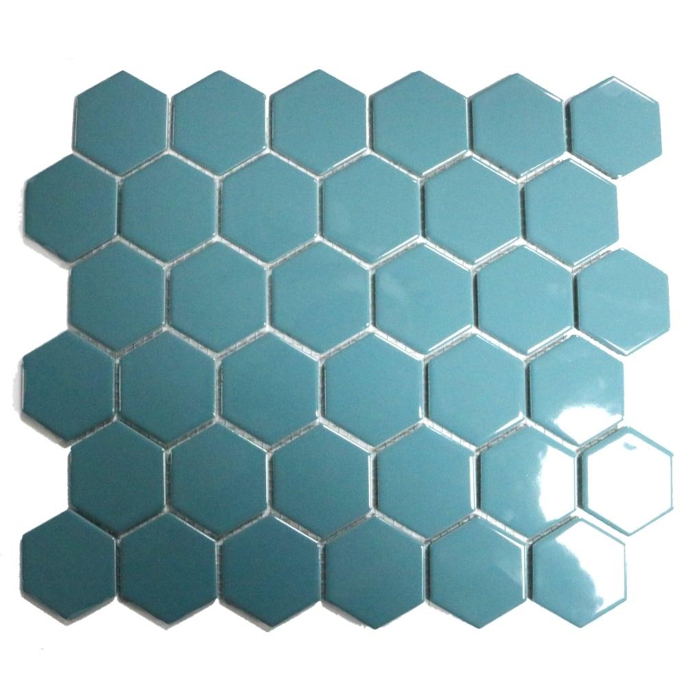 Hexagon Teal Gloss 32.5cm x 28.1cm Mosaic Tile - Wall Tiles from ...