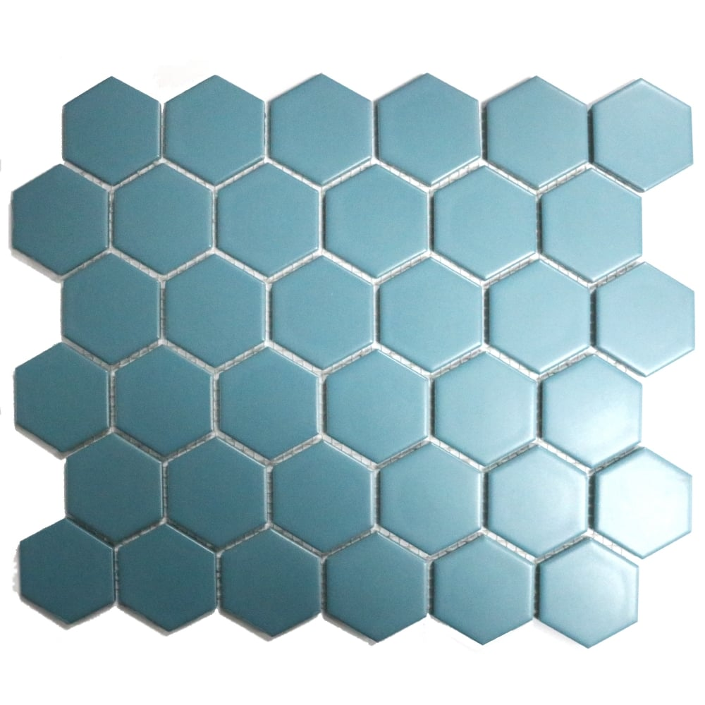 Hexagon Teal Matt 32 5cm X 28 1cm Mosaic Tile Wall Tiles