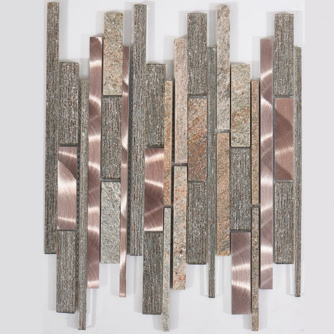 Tumbled Noce Stone Effect Travertine Wall Tile Pack Of 15: Himalaya Warm 30cm X 30cm Mosaic Tile